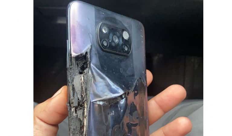 The Poco X3 Pro allegedly catches fire after charging; the firm claims it was caused by 'user induced damage.'